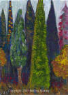 "ACEO - ""Trees"" Acrylic on Gessoed card stock by Bettina Makley, aka Fairywebmother.(SOLD)"